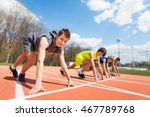 four teenage runners lined up... | Shutterstock . vector #467789768