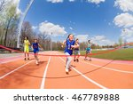 young sprinters running to the... | Shutterstock . vector #467789888