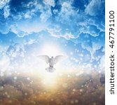 holy spirit bird flies in skies ... | Shutterstock . vector #467791100