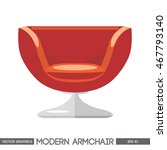 red modern armchair over white...