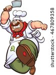 angry cartoon chef running with ... | Shutterstock .eps vector #467809358