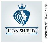 Stock vector lion shield logo design template business sign vector illustration 467815370