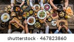 table with food  top view | Shutterstock . vector #467823860