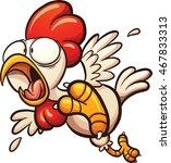 scared cartoon chicken. vector... | Shutterstock .eps vector #467833313