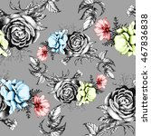 seamless pattern with beautiful ... | Shutterstock . vector #467836838