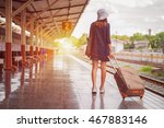 traveler girl walking and waits ... | Shutterstock . vector #467883146