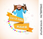 illustration of a islamic man... | Shutterstock .eps vector #467889860