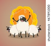cute sheeps with blank frame... | Shutterstock .eps vector #467891000