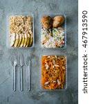 food in plastic boxes  daily... | Shutterstock . vector #467913590