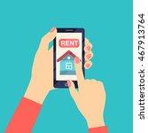 rent house on smartphone screen.... | Shutterstock .eps vector #467913764