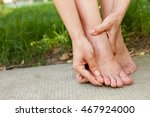 woman showing blister on pinky... | Shutterstock . vector #467924000