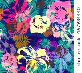 tropical aloha pattern. vector... | Shutterstock .eps vector #467934440