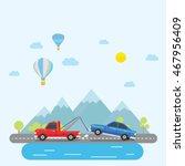 tow truck towing a sedan car... | Shutterstock .eps vector #467956409