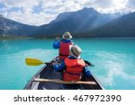 father and son canoeing on... | Shutterstock . vector #467972390