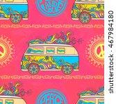 hippie vintage car a mini van... | Shutterstock .eps vector #467984180