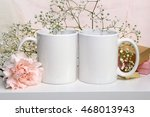 two white mugs  cups for... | Shutterstock . vector #468013943