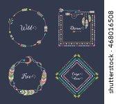hand drawn boho style frames... | Shutterstock .eps vector #468016508