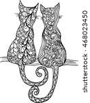 decorative hand drawn doodle... | Shutterstock .eps vector #468023450