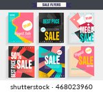set sale poster with percent... | Shutterstock .eps vector #468023960