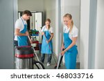 group of janitors cleaning... | Shutterstock . vector #468033716
