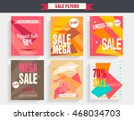 set sale poster with percent... | Shutterstock .eps vector #468034703