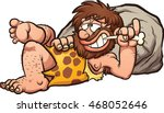 Cartoon Caveman Resting After ...
