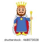 cartoon king holding a golden... | Shutterstock .eps vector #468073028
