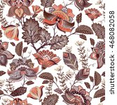 vintage flowers seamless... | Shutterstock .eps vector #468082058