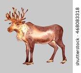 isolated watercolor reindeer on ... | Shutterstock . vector #468083318