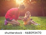 mother and daughter playing... | Shutterstock . vector #468093470
