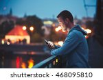 alone in the night city with... | Shutterstock . vector #468095810