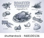 roasted turkey with ingredients ... | Shutterstock .eps vector #468100136