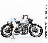girl take nap on motorcycle   Shutterstock . vector #468103913