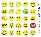 emoji. emoticons smile icon set....   Shutterstock .eps vector #468105410