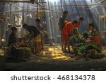 traditional market with a ray... | Shutterstock . vector #468134378