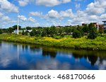 View of the farmers market and Phoenix Park along the Chippewa River in Eau Claire, Wisconsin