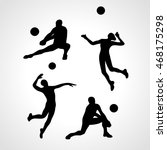 vector volleyball silhouettes... | Shutterstock .eps vector #468175298