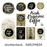 fresh organic coffee set.... | Shutterstock .eps vector #468194834