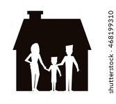 flat design family and house... | Shutterstock .eps vector #468199310