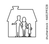 flat design family and house... | Shutterstock .eps vector #468199328
