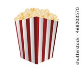 flat design striped popcorn bag ... | Shutterstock .eps vector #468203570