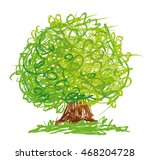 vector tree with round crown... | Shutterstock .eps vector #468204728