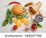 fresh hamburger with french... | Shutterstock . vector #468207788