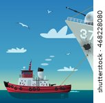 Tugboat Pulling Damaged Navy...