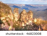 Three sisters in Blue Mountains, Australia - stock photo