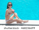 joyful girl relaxing near water ... | Shutterstock . vector #468236699