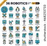 robotic technology outline... | Shutterstock .eps vector #468253733