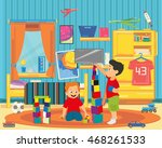 two brothers playing with... | Shutterstock .eps vector #468261533