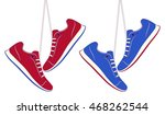 vector red and blue sneakers...