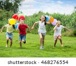 four smiling kids happily... | Shutterstock . vector #468276554